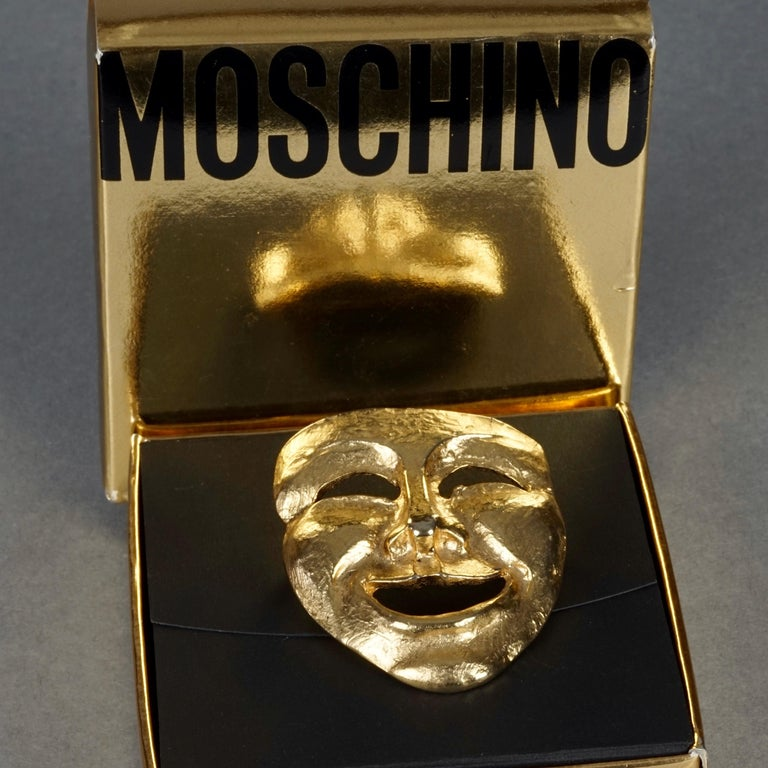 Women's or Men's Vintage MOSCHINO Comedy Mask Novelty Brooch For Sale