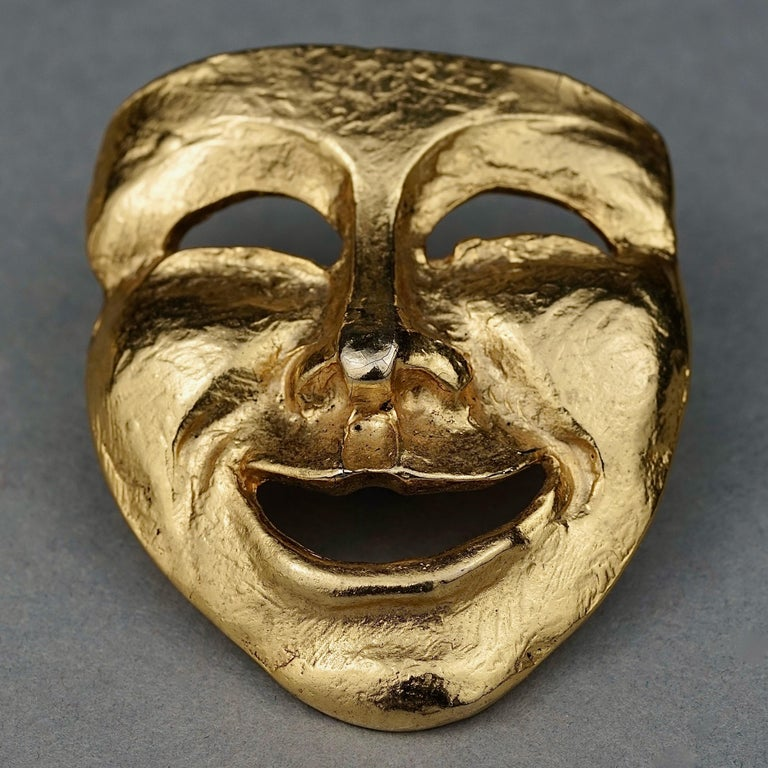Vintage MOSCHINO Comedy Mask Novelty Brooch For Sale 3