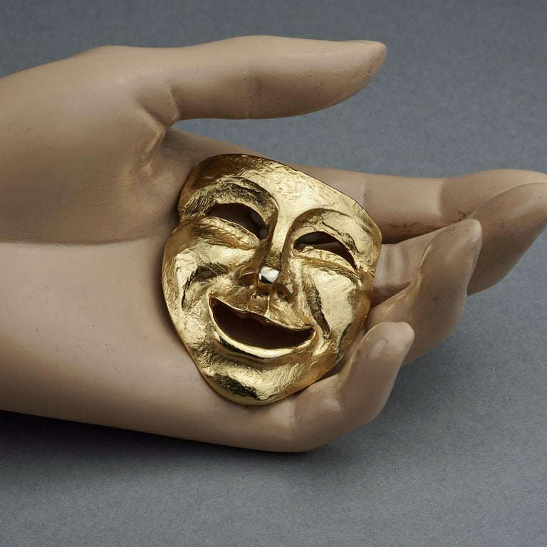 Vintage MOSCHINO Comedy Mask Novelty Brooch For Sale 4