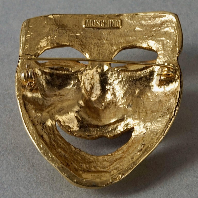 Vintage MOSCHINO Comedy Mask Novelty Brooch For Sale 5