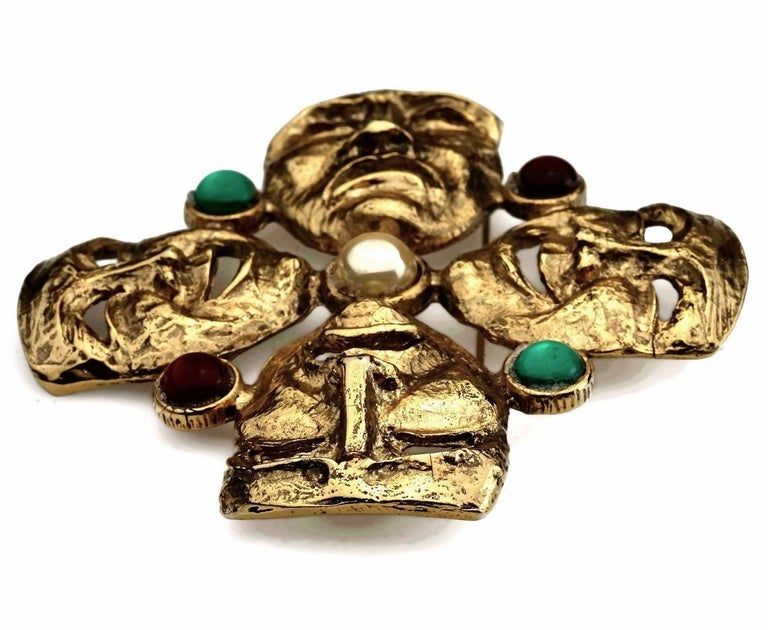 Women's or Men's Vintage MOSCHINO Comedy Tragedy Mask Jewelled Novelty Brooch For Sale