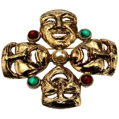 Vintage MOSCHINO Comedy Tragedy Mask Jewelled Novelty Brooch