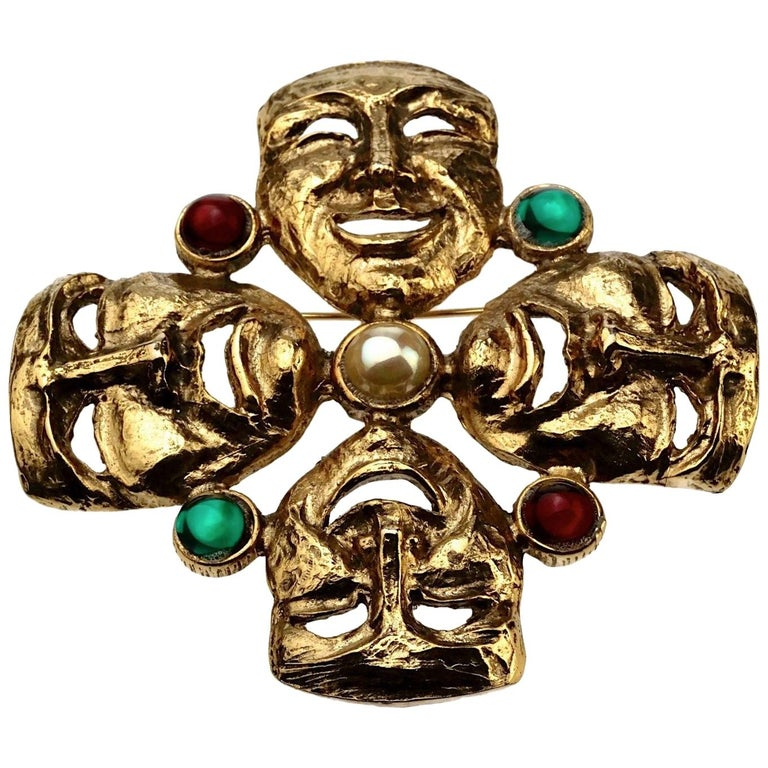 Vintage MOSCHINO Comedy Tragedy Mask Jewelled Novelty Brooch For Sale