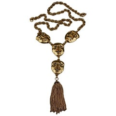 Vintage MOSCHINO Comedy Tragedy Mask Tassel Charm Necklace