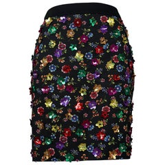 Vintage MOSCHINO COUTURE 3D Flowers Embellished Skirt