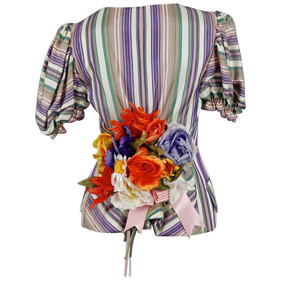 Vintage MOSCHINO COUTURE Flower Bouquet Novelty Blouse