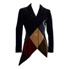 Vintage MOSCHINO COUTURE Harlequin Velvet Novelty Asymmetric Blazer Jacket