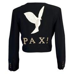 Vintage MOSCHINO COUTURE PAX Peace Dove Bird Figural Novelty Blazer Jacket