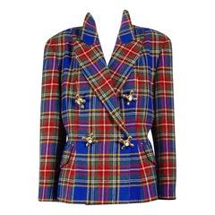 Vintage MOSCHINO Faucet Plaid Tartan Novelty Jacket