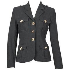 "Vintage MOSCHINO ""Full Nature Jacket"" Wooden Animal Buttons Safari Blazer Jacket"