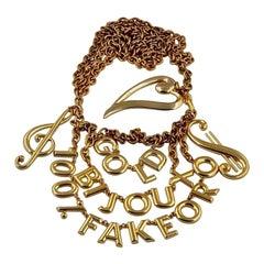 "Vintage MOSCHINO ""Gold Bijoux 100% Fake Oro"" Novelty Charm Belt"