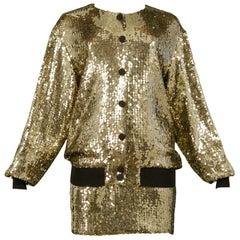Vintage Moschino Gold Sequin Bomber Jacket, Bra & Skirt 1989