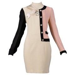 Vintage Moschino Half Chanel Pattern Maker's Dress 1992