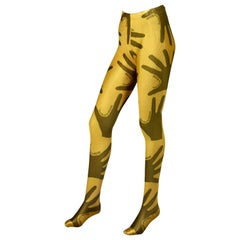 """Vintage MOSCHINO Hand Print """"Touched by Moschino"""" Spandex Footed Leggings"""