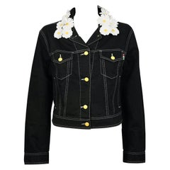 """Vintage MOSCHINO JEANS """"Love Me, Love Me not"""" Daisy Collar Denim Jacket"""