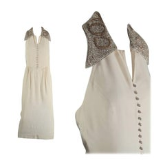 Vintage MOSCHINO Jewelled Embroidered COLLETTO Collar Halter Dress
