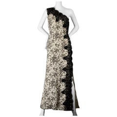 Vintage MOSCHINO Lace One Shoulder Evening Dress