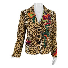 Vintage Moschino Leopard Print Faille Ribbon Applique Jacket 1990s