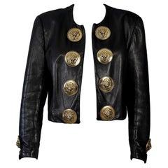 Vintage MOSCHINO Lion Head Door Knocker Leather Jacket