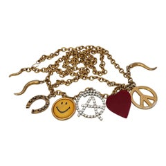 Vintage MOSCHINO Love Peace Smile Necklace Belt