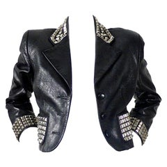 Vintage MOSCHINO Metal Studded Leather Cropped Jacket