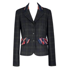 Vintage MOSCHINO Necktie Plaid Novelty Blazer Jacket