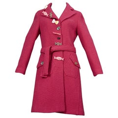 "Vintage MOSCHINO ""Never Accept Sweets from Strangers!"" Candy Pink Wool Coat"