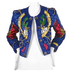 Vintage MOSCHINO Peace and Love Nautical Print Quilted Jacket