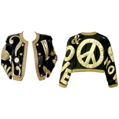 Vintage MOSCHINO PEACE and LOVE Passementerie Metallic Trim Black Gold Leather J