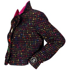 Vintage MOSCHINO Push For Nature Novelty Felt Button Tweed Boucle Jacket