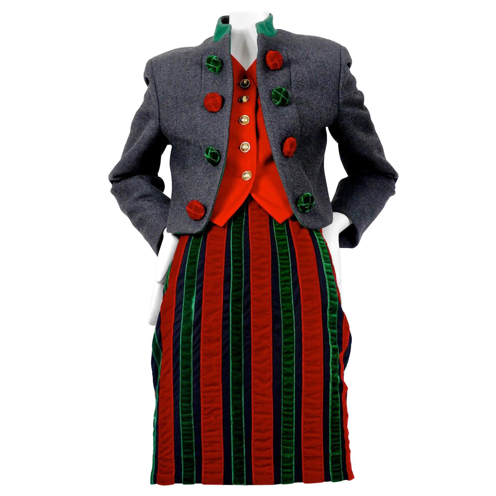 Vintage MOSCHINO Quirky Christmas Velvet Skirt Jacket Suit