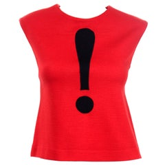 Vintage Moschino Red and Black Exclamation Mark Sleeveless Top
