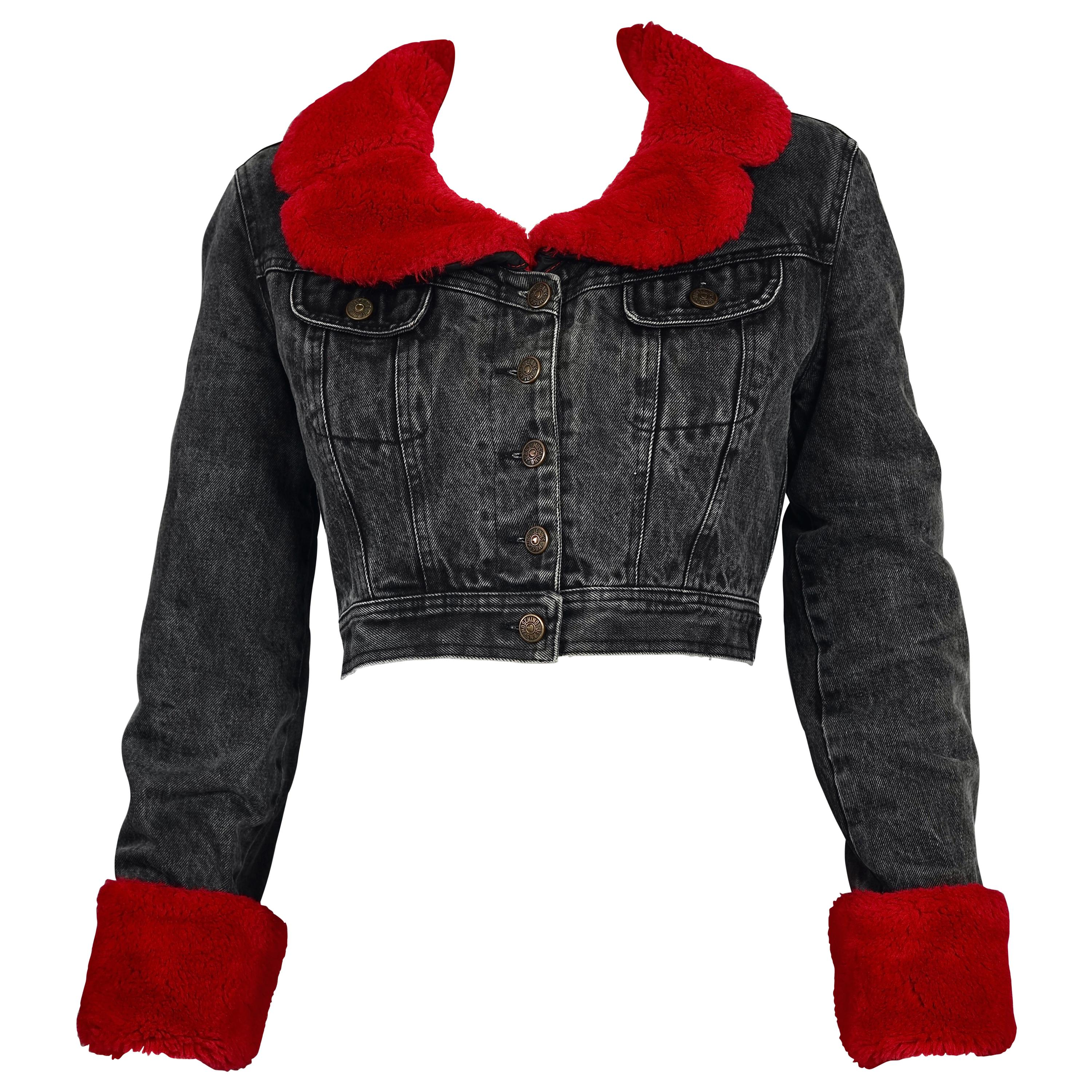 Vintage MOSCHINO Removable Red Faux Fur Denim Cropped Jacket