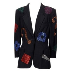 Vintage MOSCHINO Rhinestone Studded Figural Novelty Blazer Jacket