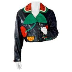 "Vintage MOSCHINO ""Siamo Alla Frutta"" Fruit Novelty Leather Cropped Biker Jacket"