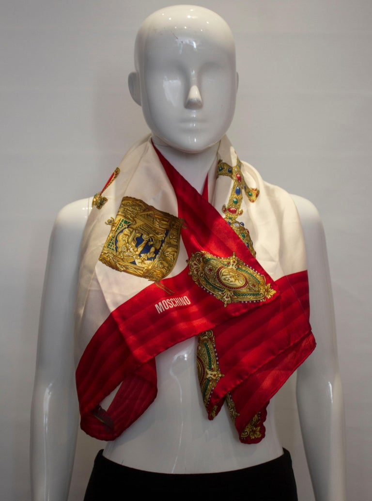 Beige Vintage Moschino Silk Scarf For Sale