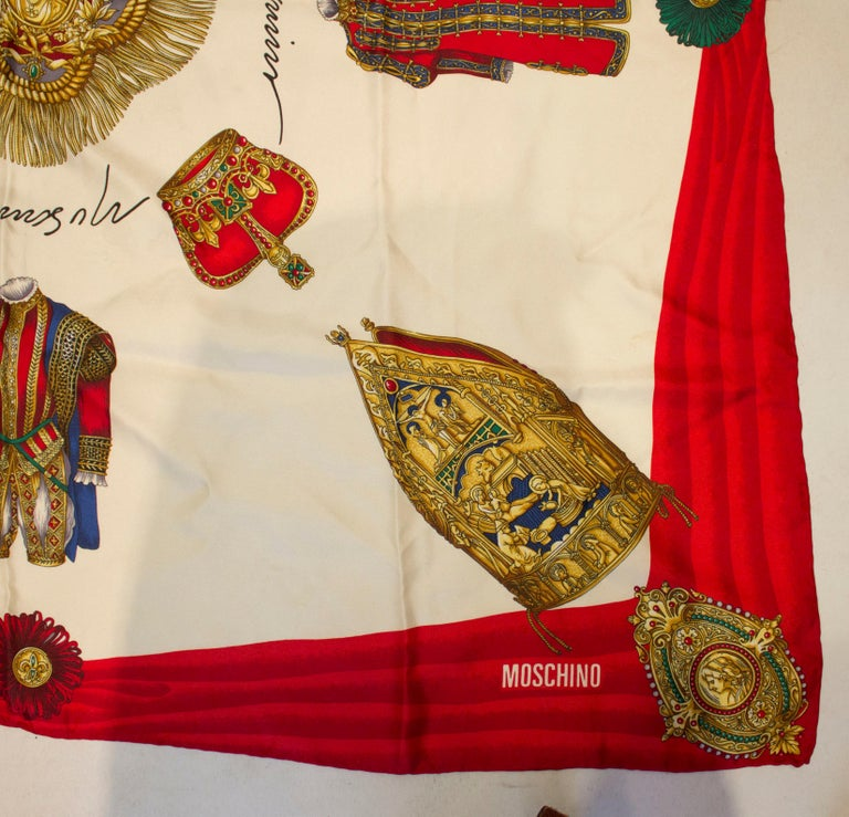 Vintage Moschino Silk Scarf In Good Condition For Sale In London, GB