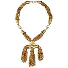 Vintage MOSCHINO Thimble Cross Cascading Tassel Fringe Chain Necklace