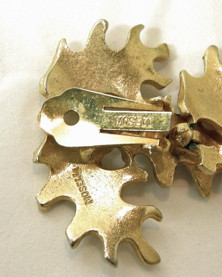 Women's Vintage Mosell Leaf Dangling Earrings For Sale