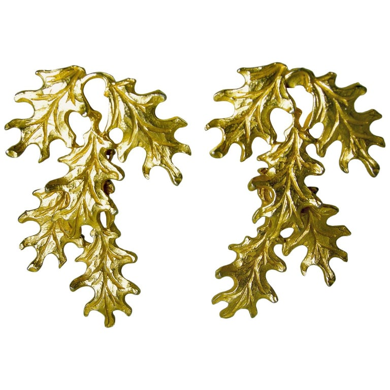 Vintage Mosell Leaf Dangling Earrings For Sale