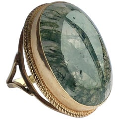 Vintage Moss Agate and 9 Carat Gold Ring