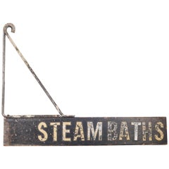 "Vintage Mounted ""Steambaths"" Sign, circa 1950"