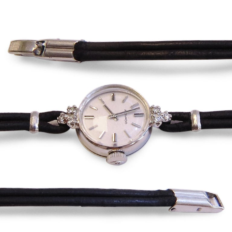 Vintage Movado 14 Karat White Gold and Diamond Whit Black Strap In Good Condition For Sale In Jackson Heights, NY