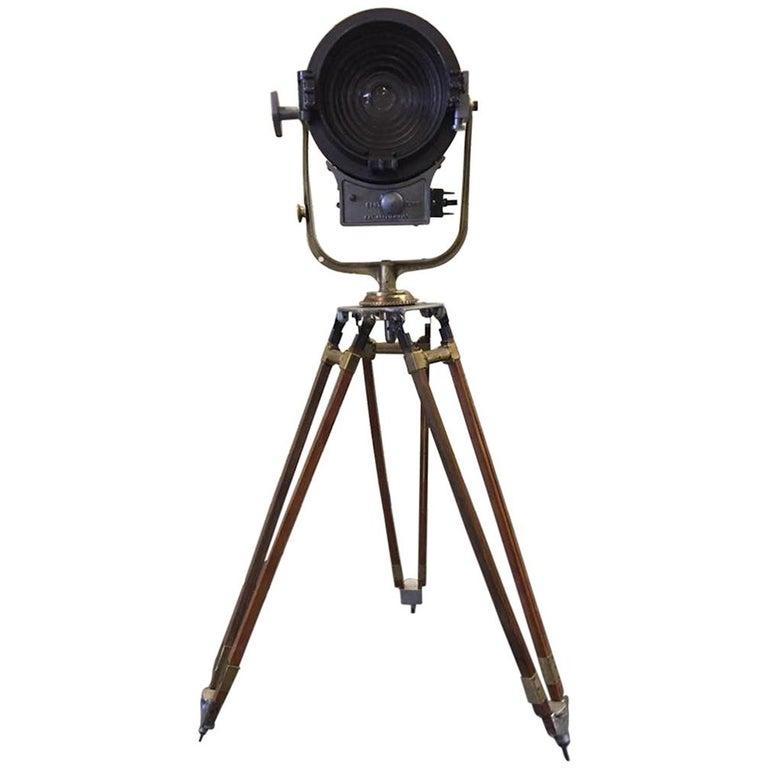 Vintage Movie Light Floor Lamp Industrial Spotlight On Expandable Wood Legs For Sale At 1stdibs