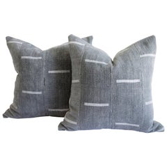 Vintage Mud Cloth Pillow in Gray Blue with Light Gray Stripes