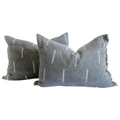 Vintage Mud Cloth Standard Sham Pillows in Gray Blue