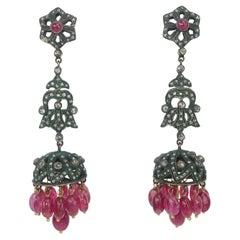 Vintage Mughal Style Chandelier Earrings