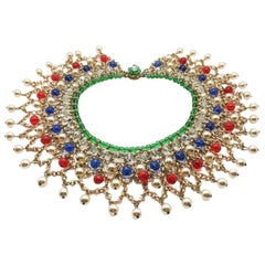 Vintage Mughal Style Jewelled Glass & Gold Chain Collar 1950S