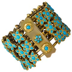 Vintage Mughal-Style Turquoise, Pearl, Gold, and Silver-Gilt Floral Bracelet