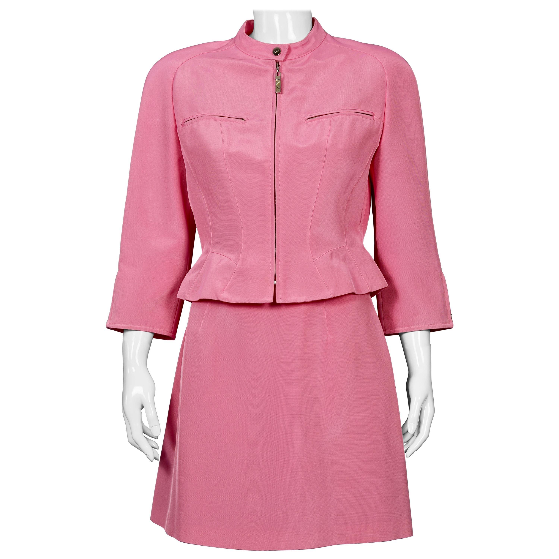 Vintage MUGLER Candy Pink Jacket Skirt Suit